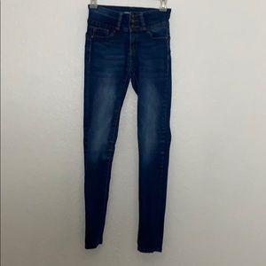 blue high rise skinny jeans